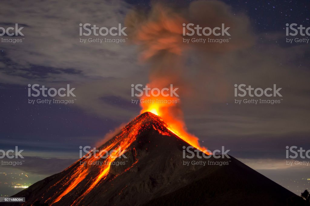 Volcano eruption captured at night, from the Volcano Fuego near Antigua, Guatemala