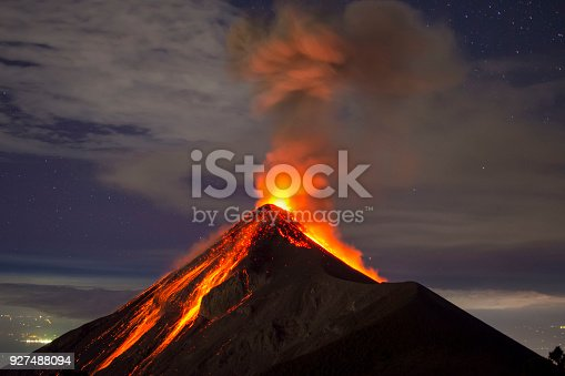 Picture allows to see a lot of clear lava, as well as a few stars and the city lights in the distance. Picture shot around 10:00 PM, on the rim of the Acatenango Volcano which is right next to the volcano Fuego.