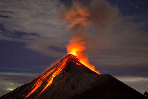 istock Volcano eruption captured at night, from the Volcano Fuego near Antigua, Guatemala 927488094