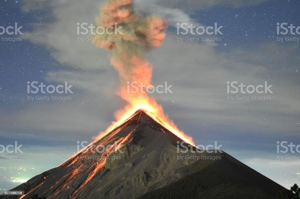 Éruption du volcan capturée dans la nuit, depuis le volcan de feu près de Antigua, Guatemala - Photo