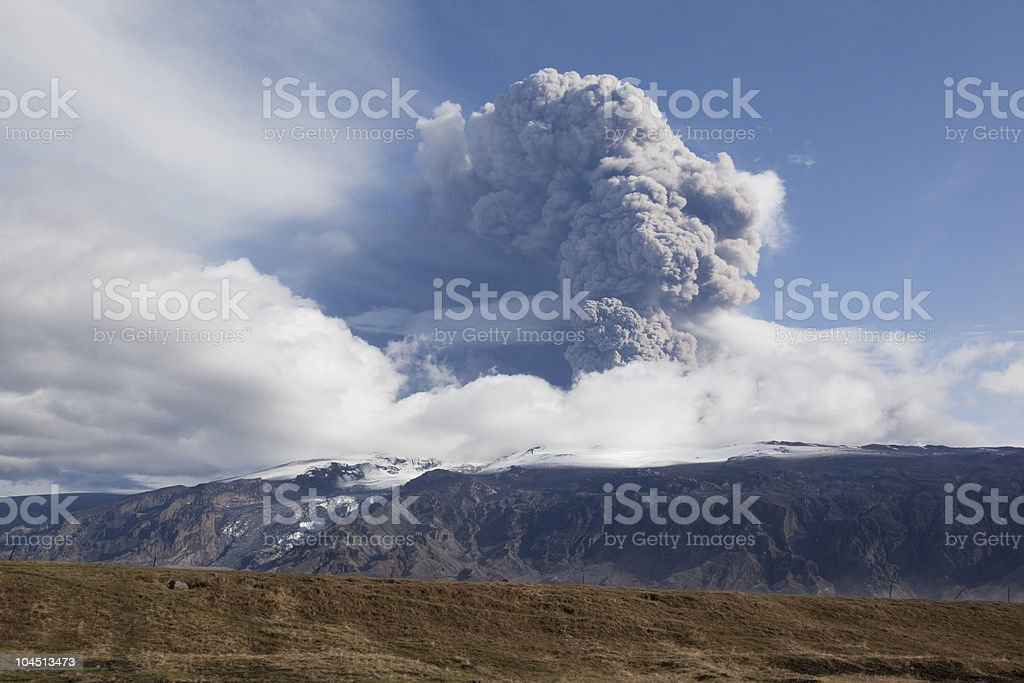 Volcano Eruption in Iceland Ash Sky caused cancellation of flights stock photo