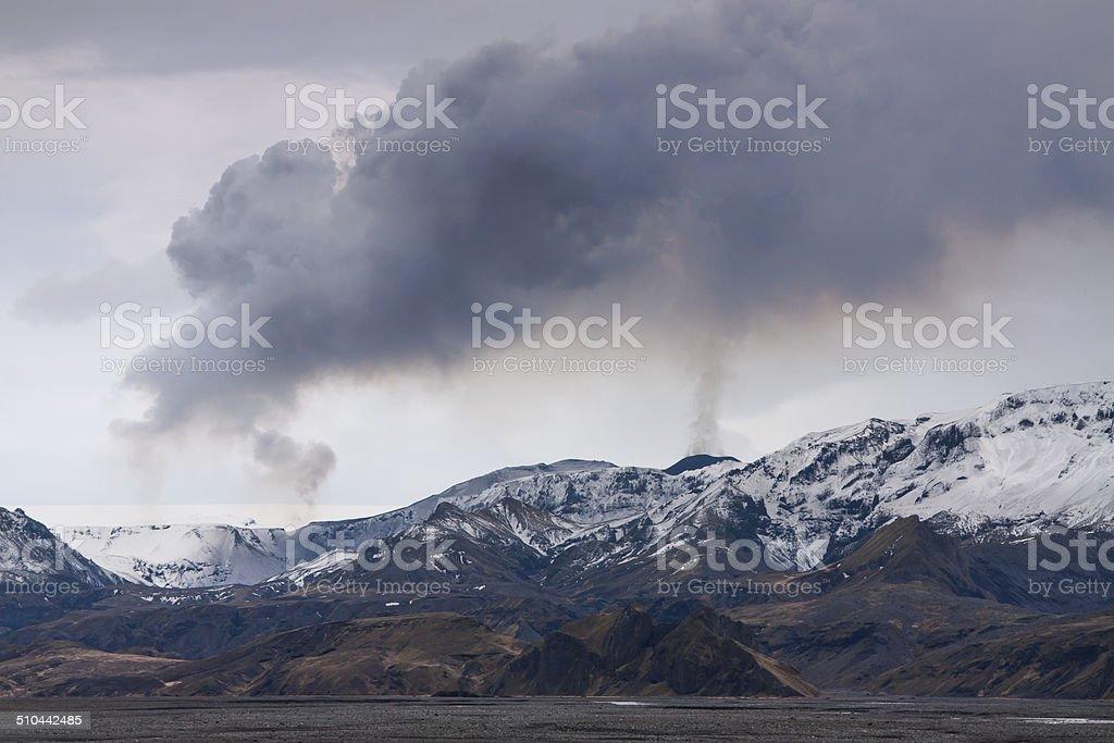 Volcano eruption in Iceland stock photo