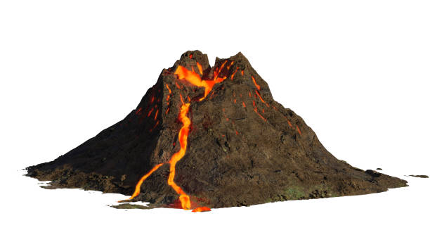 volcano eruption, lava coming down a mountain, isolated on white background (3d science illustration) rupture in the earth's crust, cutout on white ground volcano stock pictures, royalty-free photos & images