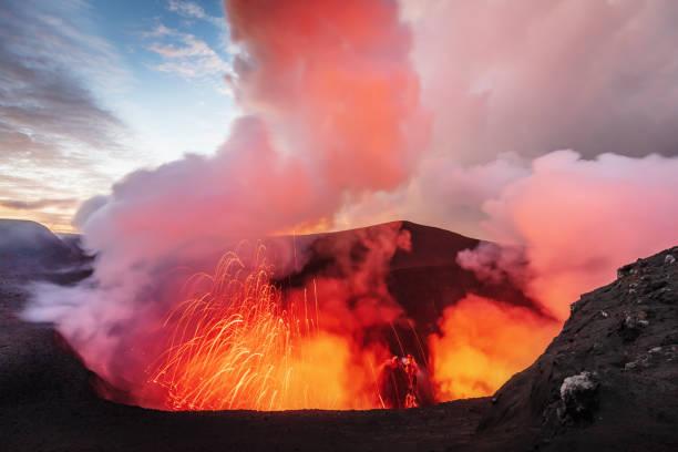 Volcano Eruption Mount Yasur Tanna Island Vanuatu Lava Crater