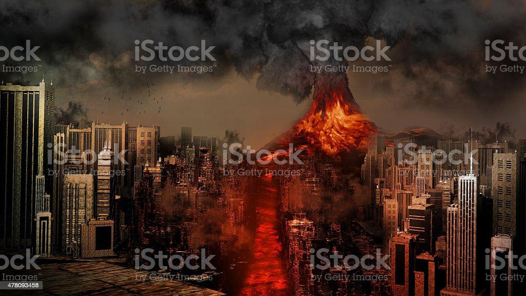 Volcano eruption near the city stock photo