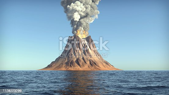 volcano eruption on an island in the ocean
