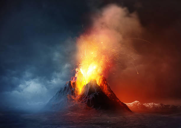 Volcano Eruption Volcano Eruption. A large volcano erupting hot lava and gases into the atmosphere. Illustration. volcano stock pictures, royalty-free photos & images