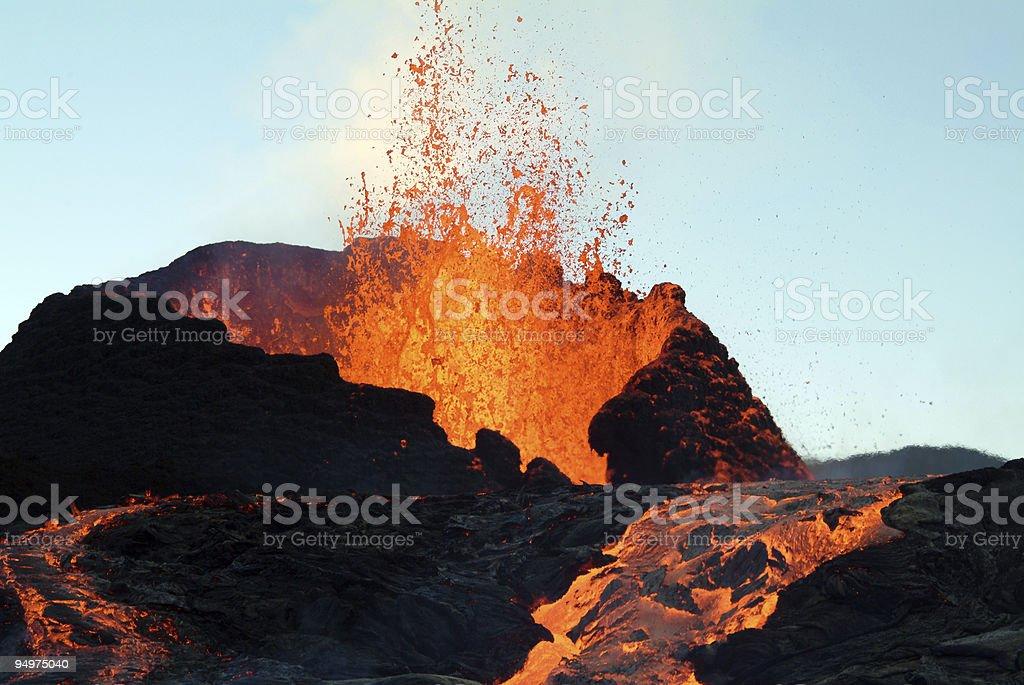 volcano eruption stock photo