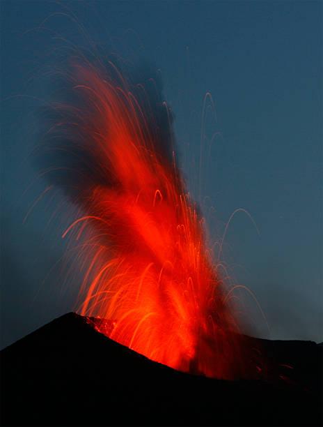 Volcano eruption Stromboli stock photo