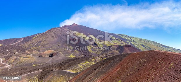 Volcano Etna in Sicily, Italy in a beautiful summer day