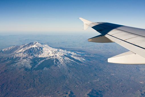 Volcano Etna View From Airbus A320 Stock Photo - Download Image Now