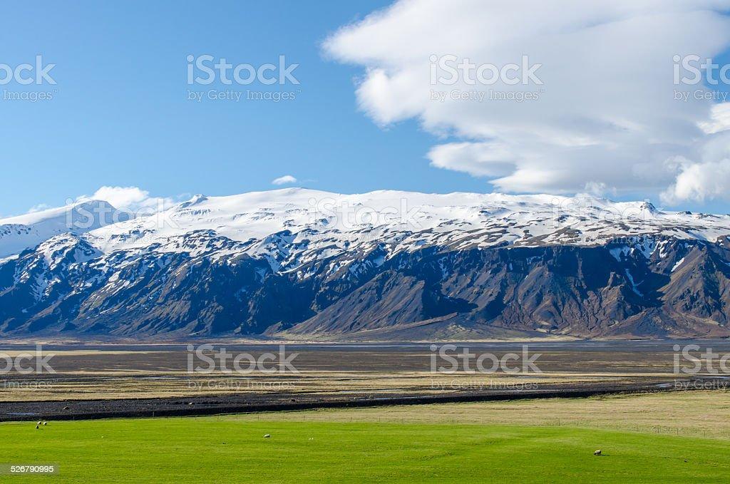 Volcano Eyjafjallajökull in southern Iceland stock photo