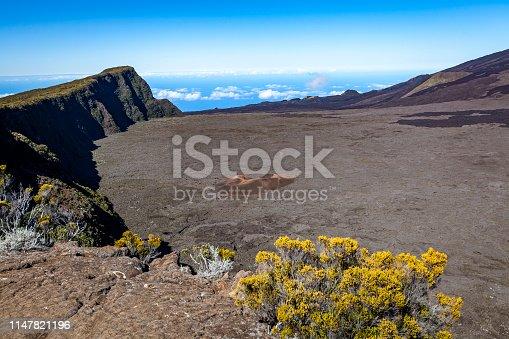 piton de la fournaise volcano on reunion island, mascarene islands, french overseas territory.