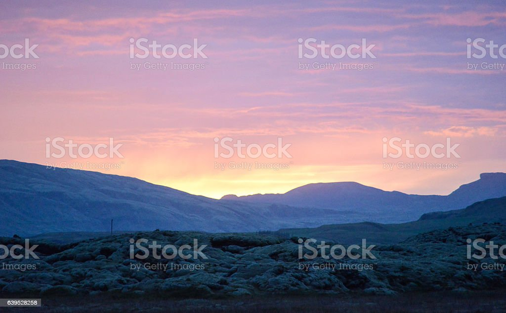 volcano in iceland at dawn stock photo