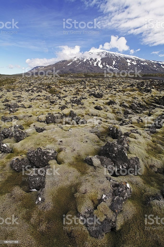 Volcano in West Iceland with lava field - Snaefellsjokull stock photo