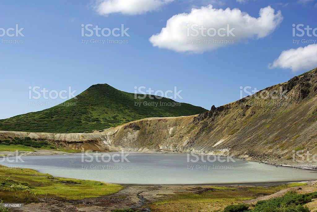 Volcano lake stock photo