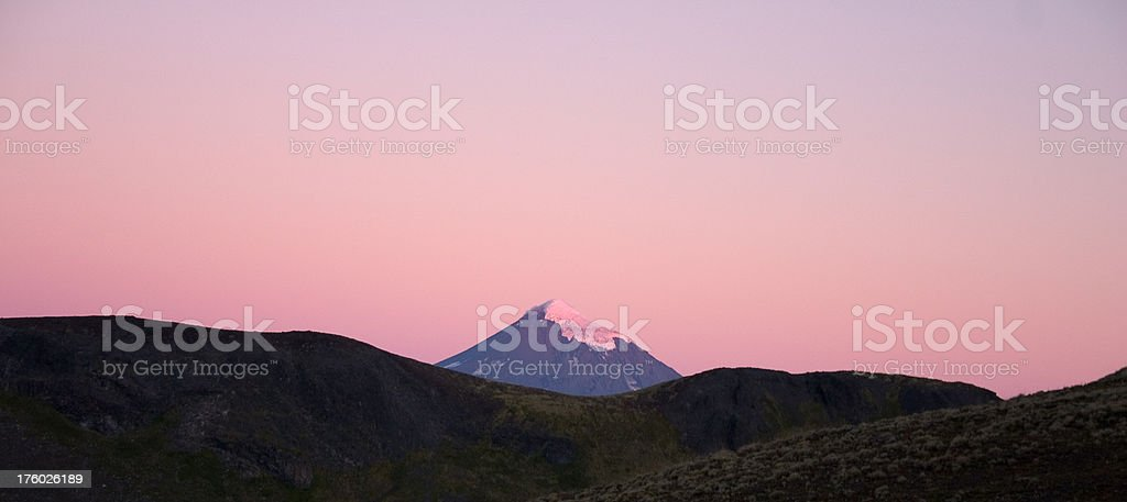 Volcano Lanin at sunset royalty-free stock photo