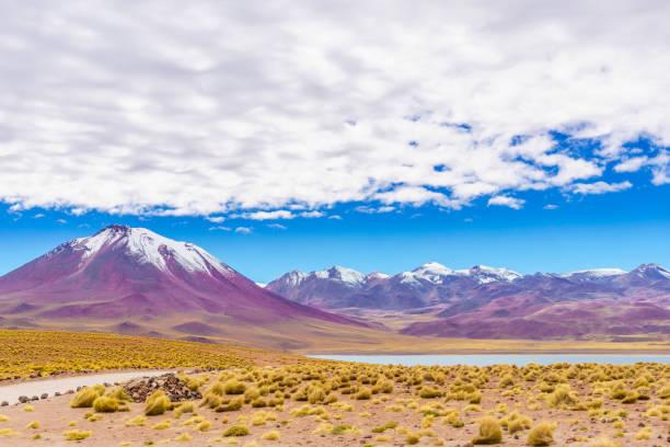 聖佩德羅-德阿塔卡馬在智利和玻利維亞之間的邊界由火山水手 - 阿爾蒂普拉諾山脈 個照片及圖片檔
