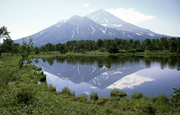 Volcano mirrored in lake (the Chodutka) Volcano mirrored in lake (the Chodutka)More images of same photographer in lightbox: kamchatka peninsula stock pictures, royalty-free photos & images