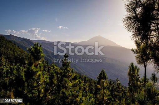 Volcano Mount El Teide on a hazy day, viewed from Mirador de Ortuño at Road TF-24, Teide National Park (Parque nacional del Teide), Tenerife, Canary Islands, Spain