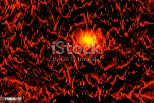 Fantastic Volcano Mountain Landscape Red Orange Black Flash Yellow Light Abstract Cosmic Pattern Digitally Generated Image