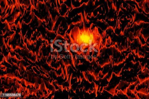 istock Volcano Mountain Abstract Landscape Red Orange Black Flash Yellow Light Fantastic Cosmic Pattern 1165538475