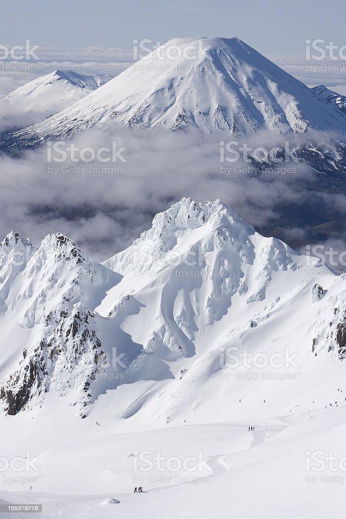 Volcano of Mt Tongariro from Whakapapa ski field New Zealand stock photo