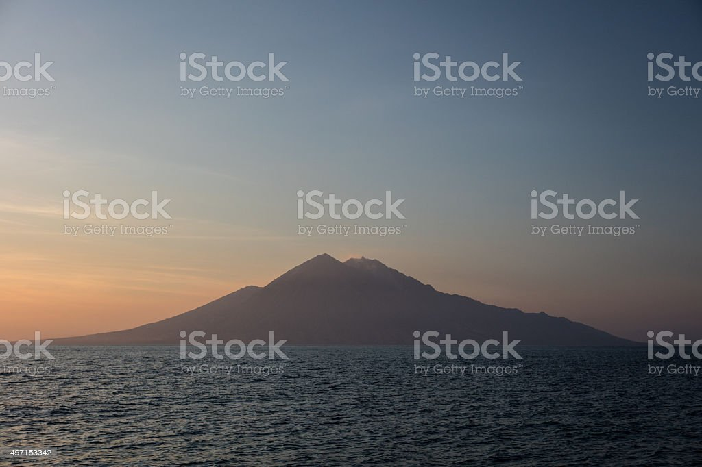 Volcano of Sangeang in Indonesia stock photo
