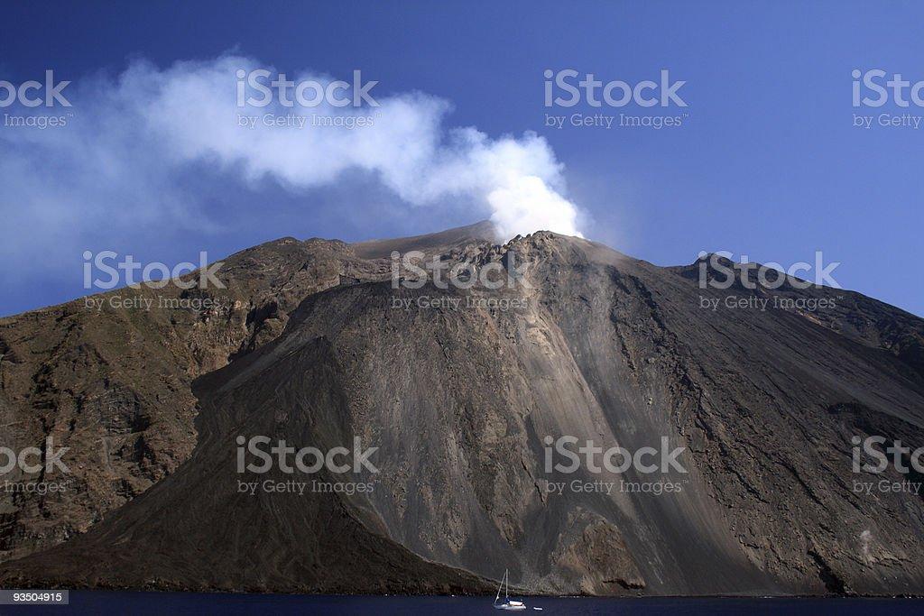 Volcano on Aeolian Islands royalty-free stock photo