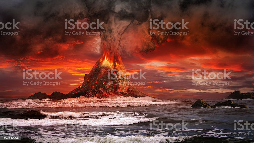 Volcano on the sea stock photo
