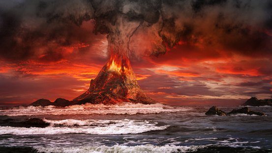 Volcano On The Sea Stock Photo - Download Image Now