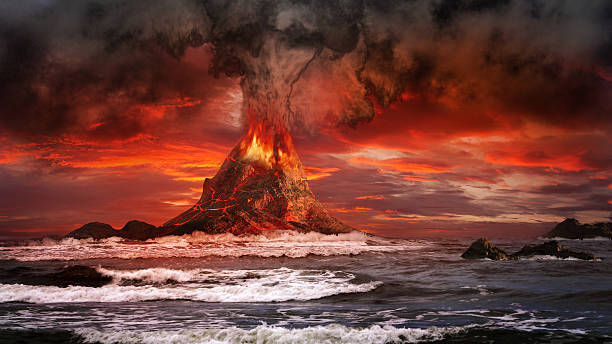 Volcano on the sea Volcano eruption on the sea volcano stock pictures, royalty-free photos & images