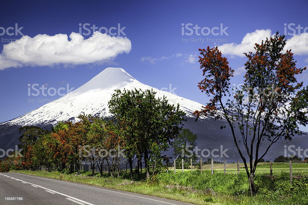 Volcano Osorno in the Chilean Lake District. stock photo
