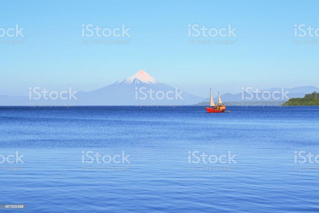 Volcano Osorno, lake Llanquihue, Patagonia, Chile stock photo