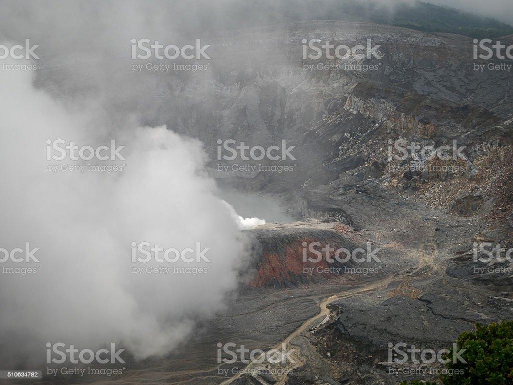 Volcano Poas in the near of San Jose stock photo
