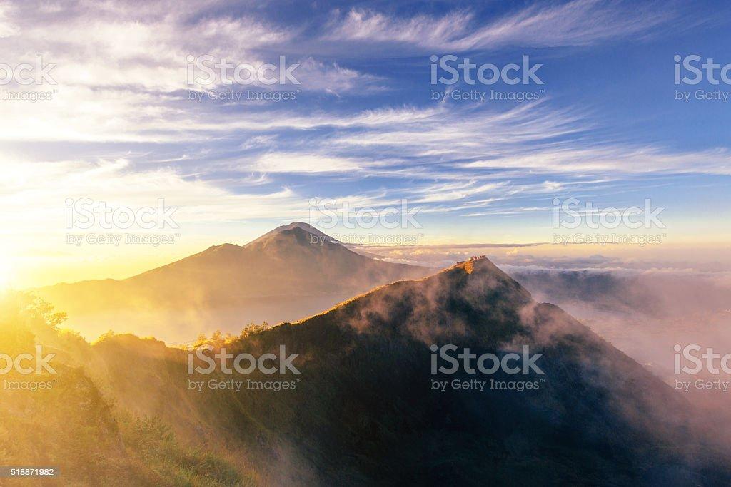 Volcano scenery in the morning, Mount Batur, Bali, Indonesia stock photo