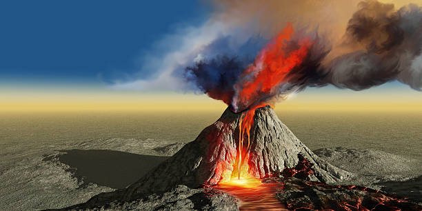 Volcano Smoke A volcano bursts into life with smoke, flowing lava and fire. volcano stock pictures, royalty-free photos & images