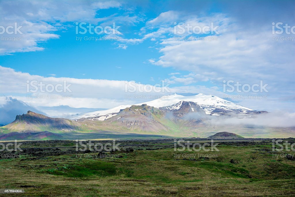 Volcano Snaefell on the western end of Icelandic peninsula stock photo
