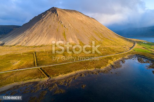 Aerial view of volcanic landscape in sunset light, Snaefellsnes Peninsula, Iceland