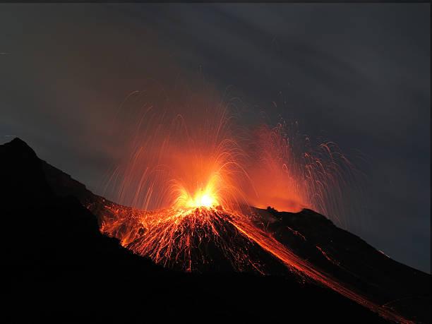 Volcano Stromboli erupting stock photo