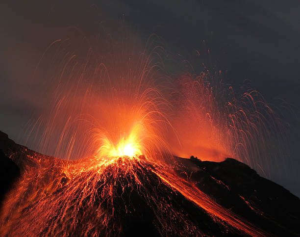 Volcano stromboli in action stock photo