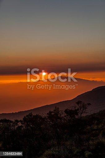 hawaiin sunset over mauna kea and haleakala volcano, seen from mauna kea volcano on big island, hawaii islands, usa.