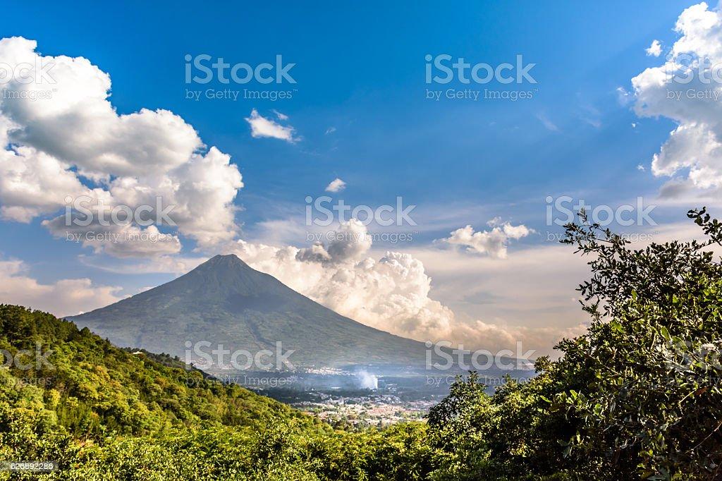 Volcano view over Antigua, Guatemala stock photo