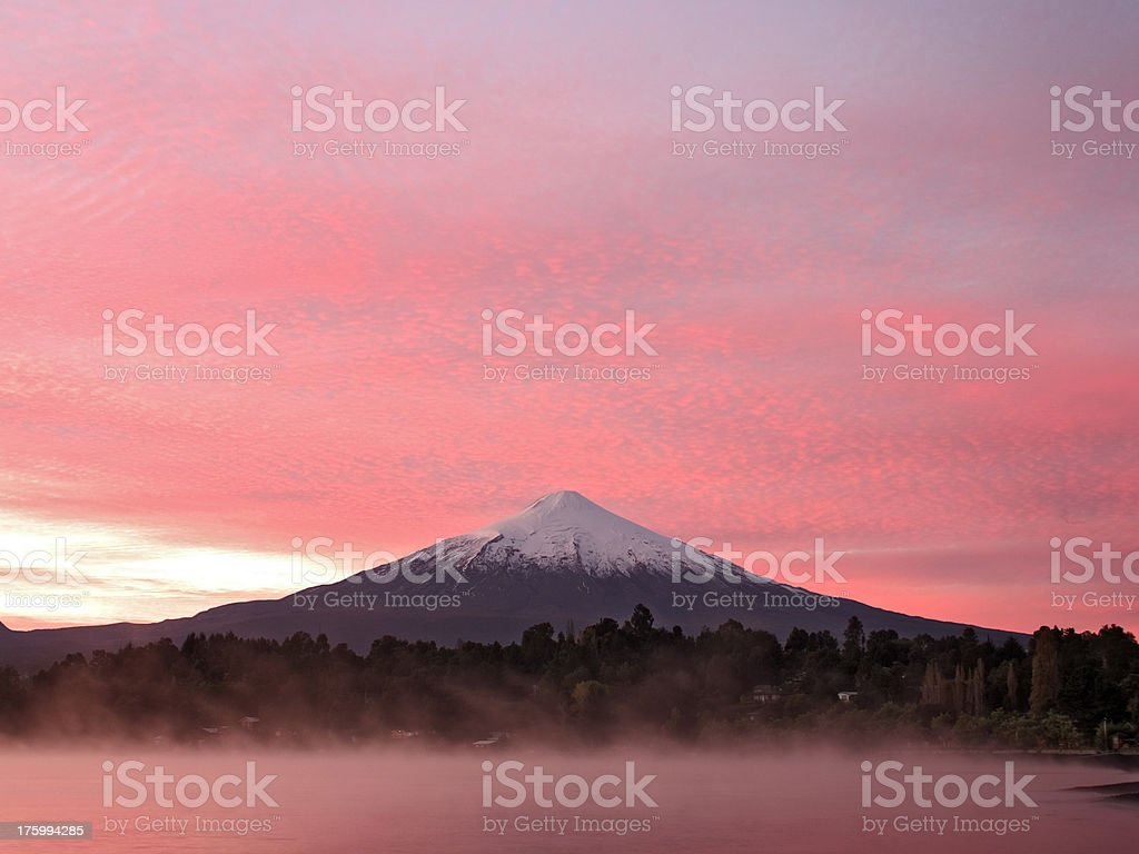Volcano Villarica at sunrise stock photo