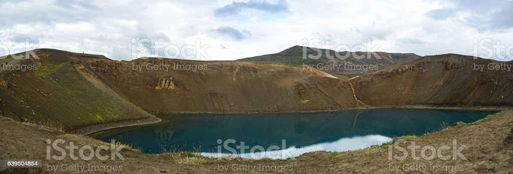 volcano water on small water pond in iceland stock photo