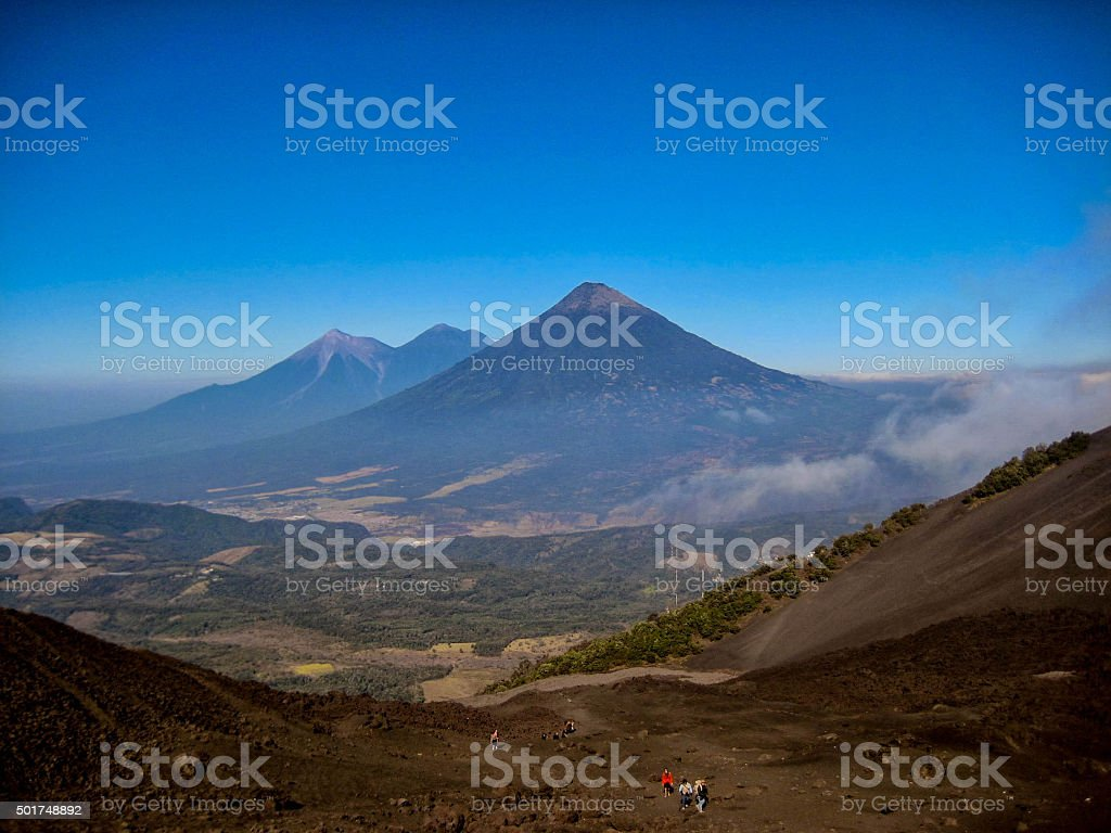 Volcanoes in Guatemala, as seen from the Pacaya Volcano. stock photo