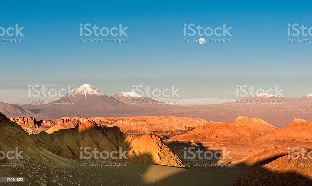 Volcanoes Licancabur and Juriques, Atacama, Chile stock photo