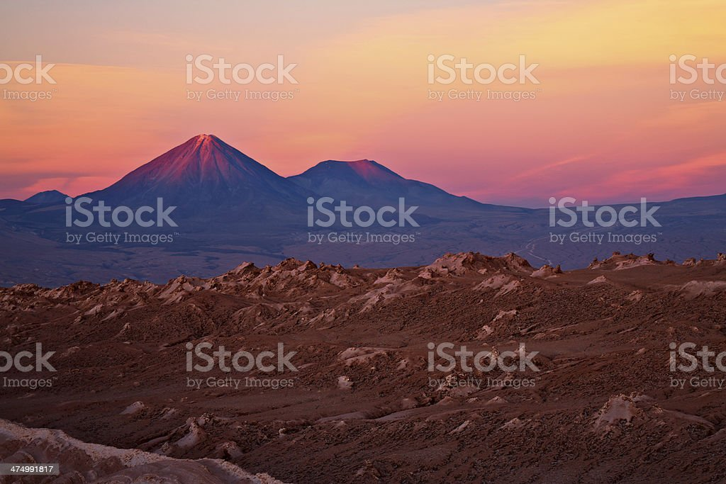 volcanoes Licancabur and Juriques, Chile stock photo