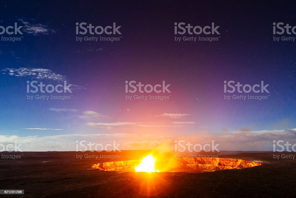 Volcanoes National Park Halema'uma'u Crater Glowing Night View Hawaii Landscape stock photo