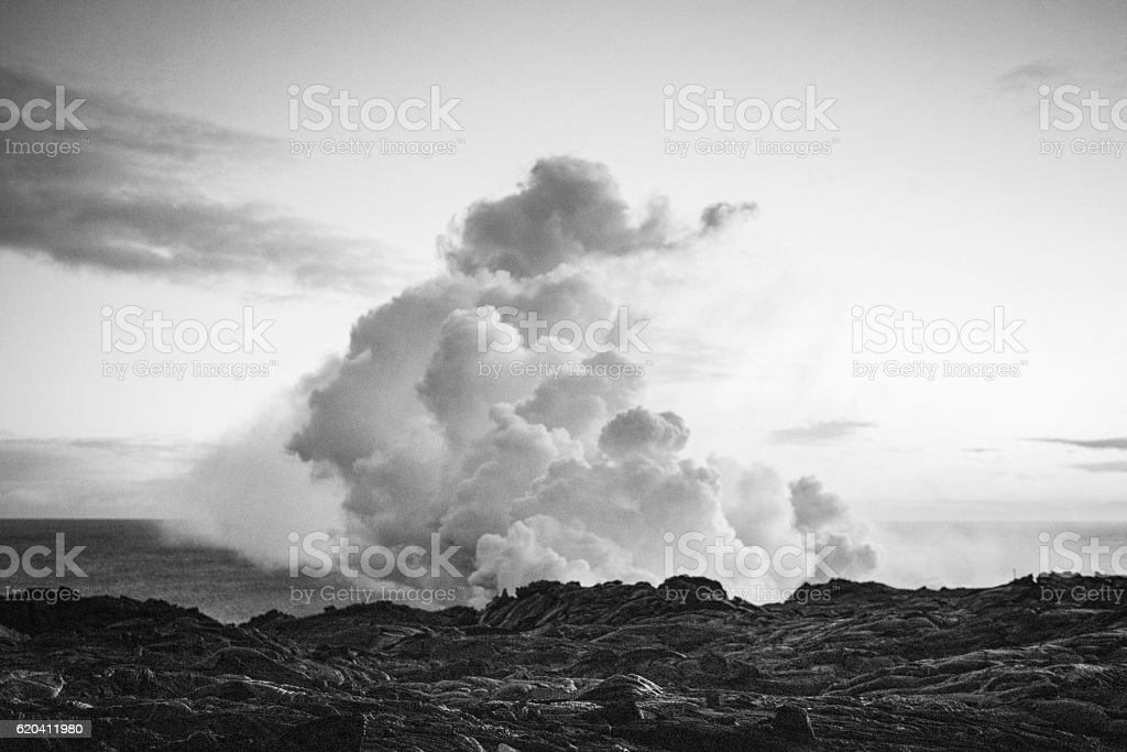 Volcanoes National Park Lava Flowing into Pacific Ocean Hawaii USA stock photo
